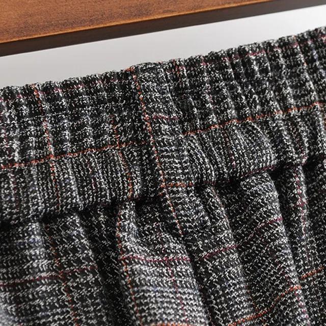 GOPLUS Wide Leg Vintage Plaid Pants Women Zipper Fly Causal Loose Trousers Women 2019 Grey High Waist Office Lady Pants C6912