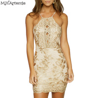M H Artemis Chic Floral Embroidery Lace Bodycon Mini Dress Sexy Backless Shiny Halter Strap V