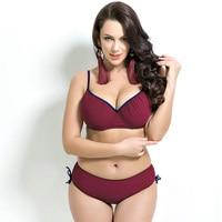 Women 2016 New Big Size Swimsuit Solid Bikini Set Sexy Bathing Suit Beach Swimming Suits Black
