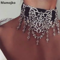 Mamojko Fashion Luxury Hollow Pattern Rhinestone Lace Choker Necklace Sex Lady Crystal Tassel Statement Necklace Collar