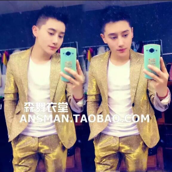 f49b95b043 US $38.25 15% OFF|S 5XL 2019 New Men's gold color gradient glitter suit  performance Blazers coat formal dress singer costumes clothing Men Suits-in  ...