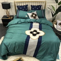 Luxury Embroidery 60S Egyptian Cotton elegance Bedding set King Queen Size Green Duvet Cover Bed sheet set pillowcases