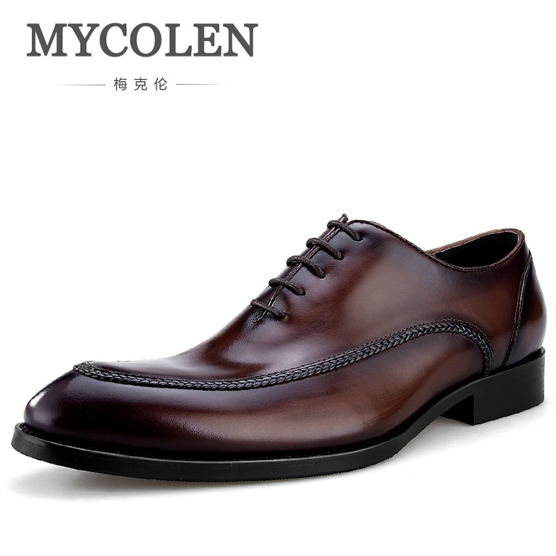 MYCOLEN New Arrivals Retro Men Shoes Patent Leather Formal Dress Fashion Glossy Male Pointed Toe Oxford Shoes Sapato Social chinese calligraphy brushes pen with weasel hair art painting supplies artist painting calligraphy pen