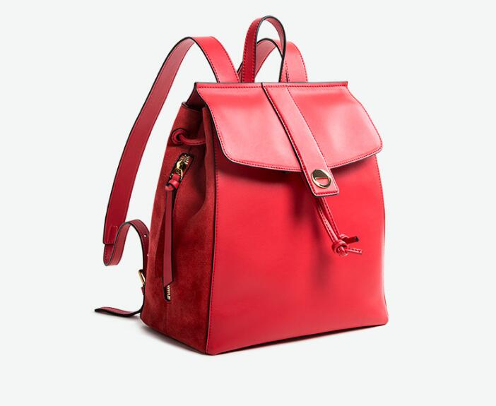 Genuine Leather Cow Skin Women Large Capacity Backpack Ourdoor Leisure Bag