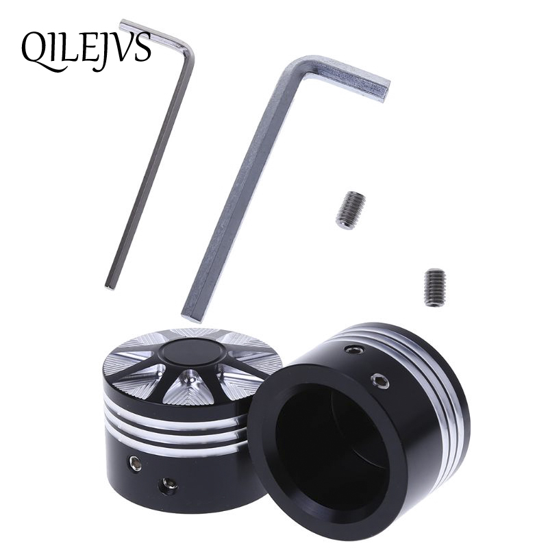 1 Pair Black Front Axle Nut Cover Cap For Harley Softail Dyna V-rod Touring Trike - Set Motorcycle Styling Matching In Colour