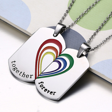 Lesbian Gay Couple Colorful Stainless Steel Pendant
