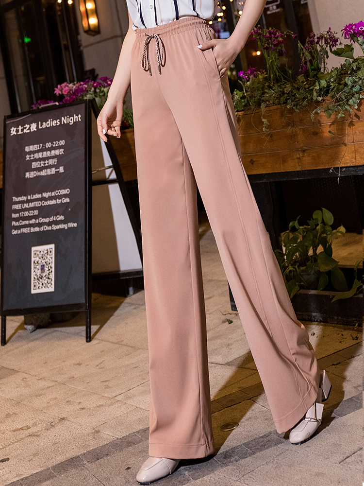 high waist   wide     leg     pants   women 2019 summer thin lace up orange full length harajuku trousers women plus size clothing for women