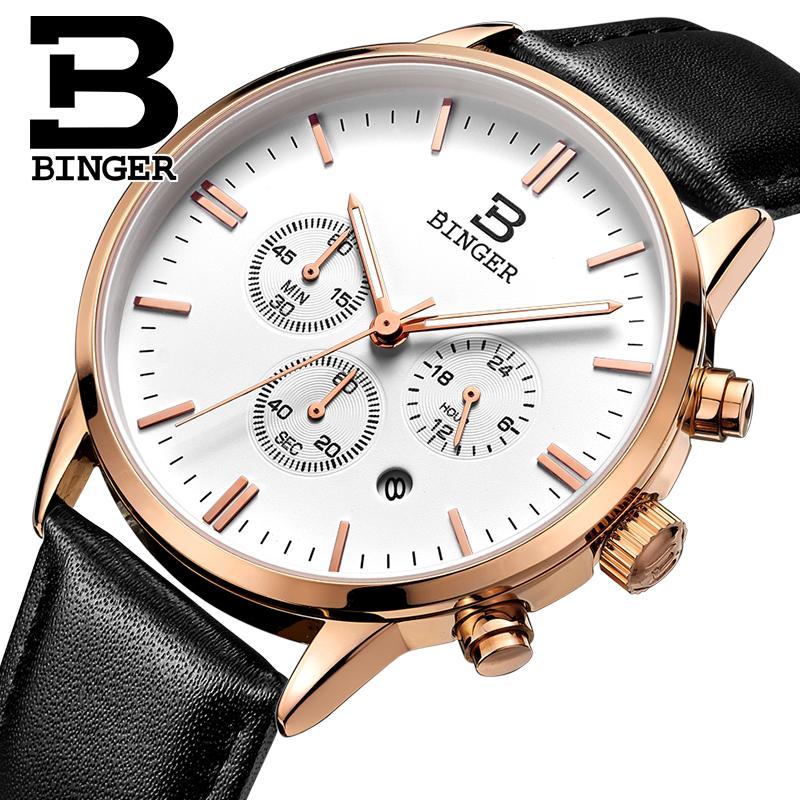 BINGER mens watch luxury brand Quartz men watches waterproof genuine leather strap clock gold Chronograph Wristwatches BG9201-8