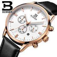 Binger relógio masculino marca de luxo quartzo relógios masculinos à prova dwaterproof água pulseira couro genuíno relógio ouro cronógrafo relógios de pulso BG9201 8|wristwatch brand|wristwatch gold|wristwatch mens gold -