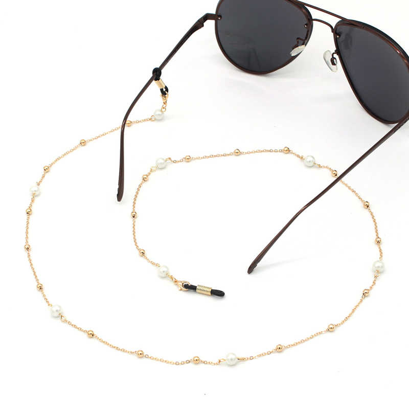 Link Chain Pearl Beads Ball Tassel Glasses Chains Silicone Eyeglasses Cord Sunglasses Necklace Band Accessories