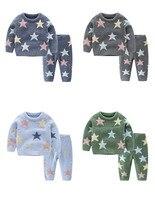 Kids Pajamas Set Pentagram Print Top Pants 2pcs Sleepwear 2 3 4 5 6 Y Toddler Girl Boy Thick Soft Nightwear Kids Sleepwear New