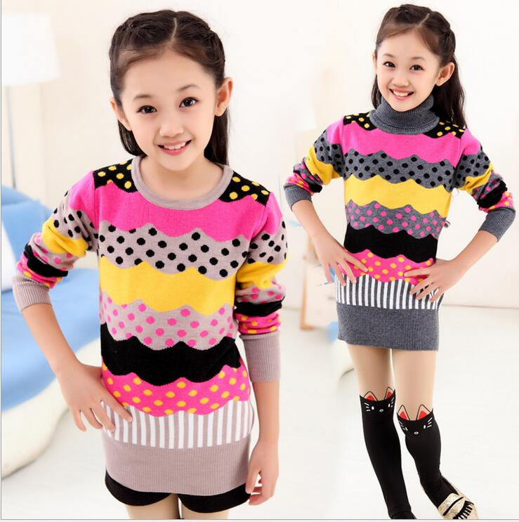 Spell Length Bottoming Pullover Knitted Clothes Warm Turn Down Collar Korean Style Threaded cuffs Sweater