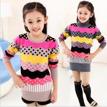 Spell Length Bottoming Pullover Knitted Clothes Warm Turn-Down Collar Korean Style Threaded cuffs Sweater Jumping Winter S091
