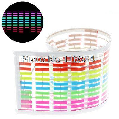 45x11cm Car Sticker Music Rhythm LED Colourful Flash Light Sound Activated Equalizer car light 1pcs 2pcs 45x11cm car music rhythm led flash light lamp sound activated equalizer car light panel lamp 1219