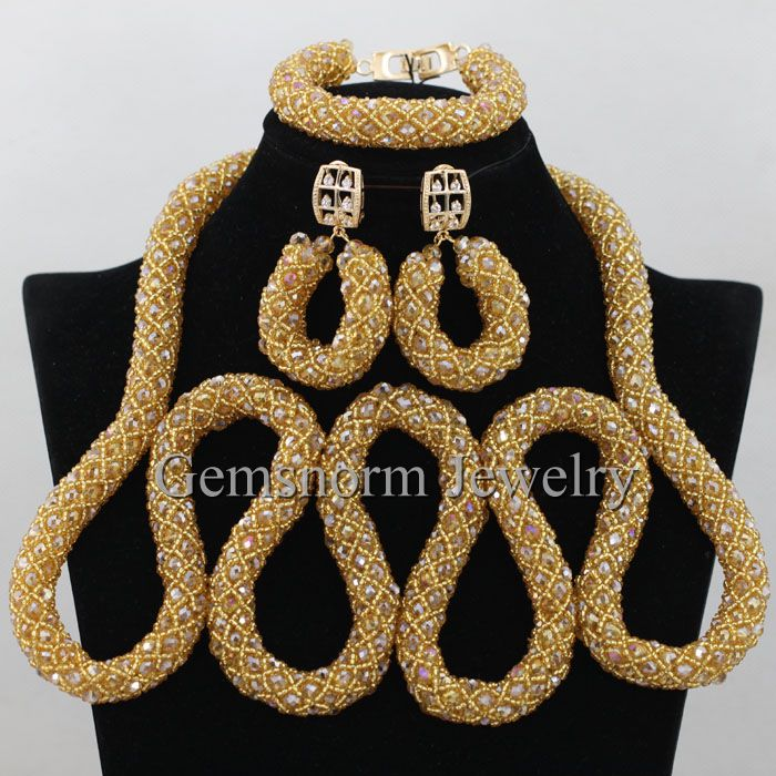 New Arrival Gold Champagne Crystal Nigerian Traditional Wedding African Beads Jewelry Set Statement Necklace Free shipping WA331