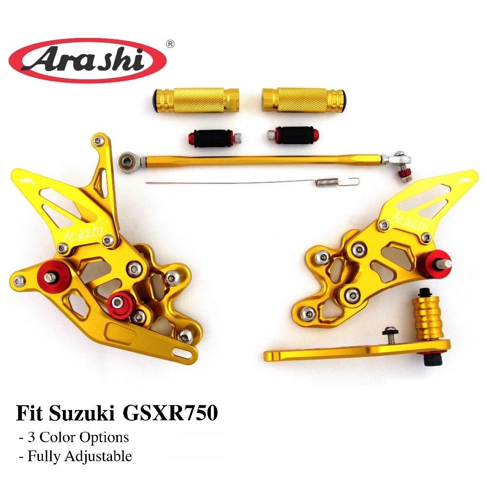Arashi CNC Réglable Repose-pieds Pour SUZUKI GSXR750 GSX750R GSXR 750 2006 2007 2008 2009 2010 Rider montage pour siège arrière repose-pied repose-pieds