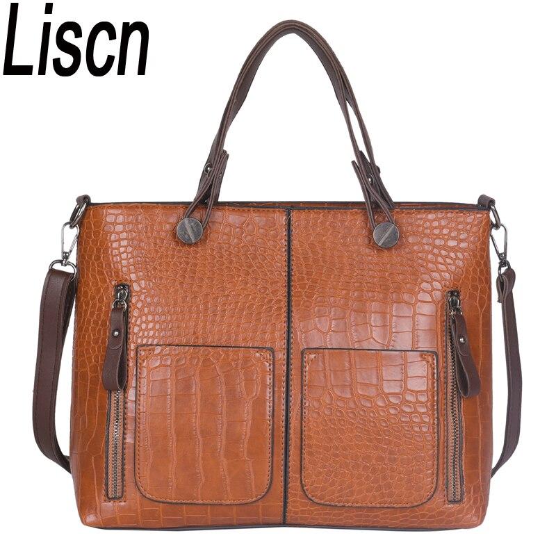Bags for women 2018 High quality PU leather ladies handbag retro ladies shoulder Messenger bag luxury brand designer crocodile b