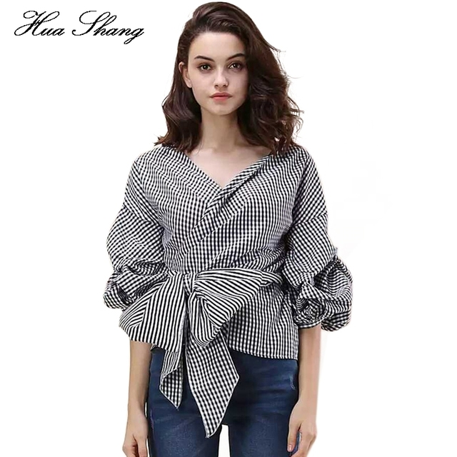447173e6520091 2017 Summer Off Shoulder Blouse Women V Neck Puff Sleeve Plaid Elegant Sexy Shirt  Women Tops Bow Tie Wrap Blouse Womans Clothes