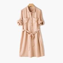 Women's tencel belted shirt dress 2017 summer button up shirtdress