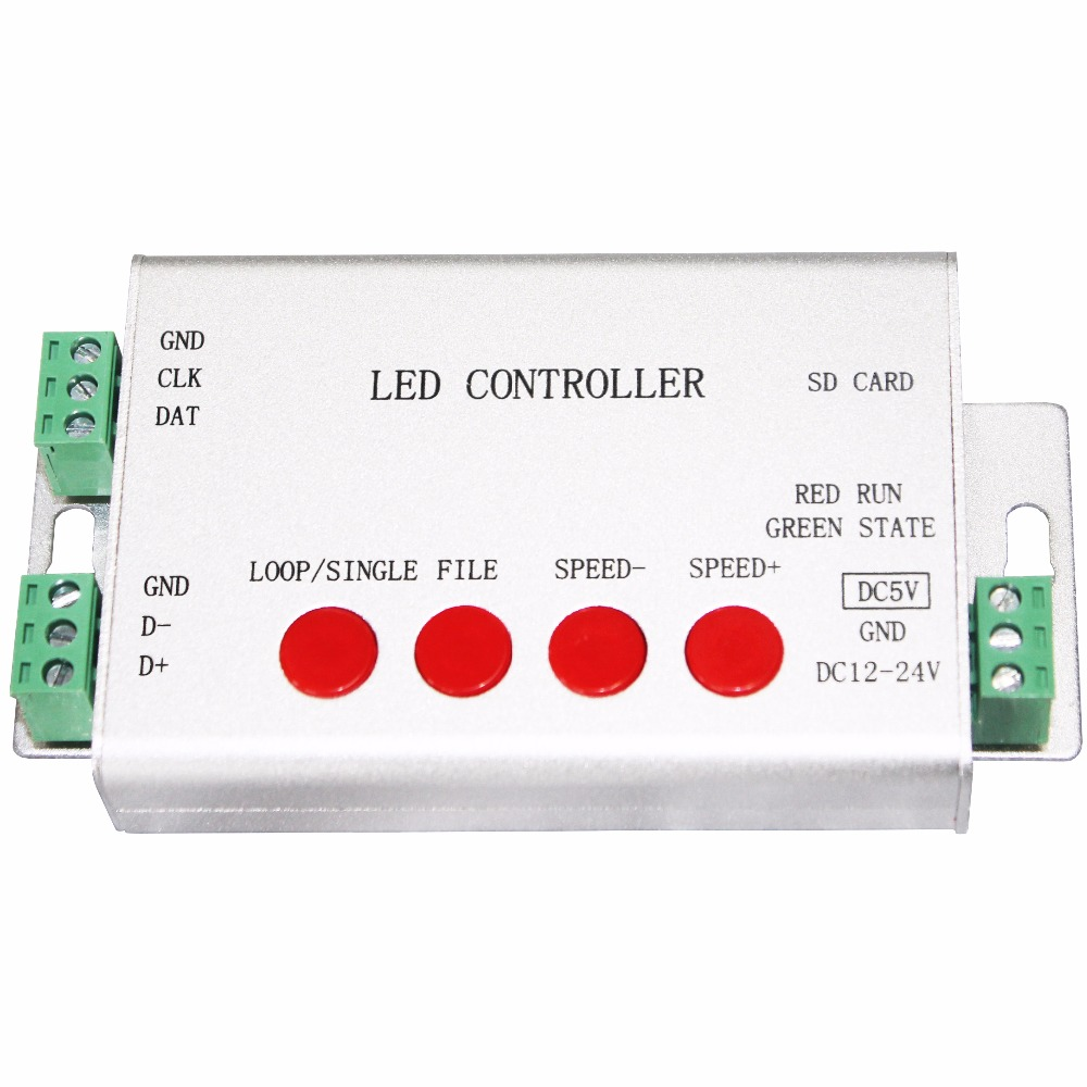 цена на led controller,full color programmable,strip controller,1 port drive 2048 pixels,work with or without SD card,support WS2812,etc