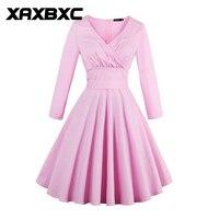 XAXBXC 2017 Sonbahar Retro Vestido Katı Renk Pembe Ilmek Kemer 1950 s Vintage Salıncak Kadınlar Warp Elbise Akşam Parti Artı boyutu