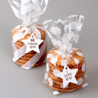 White Christmas Gift Plastic Bag Polka Dots Striped Star Plastic Bag For Candy Cookie Cake Pouch