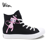 Wen Canvas Gym Sneakers Pokemon Mew Hand Painted Shoes Men Women Pocket Monster Design Black Sports