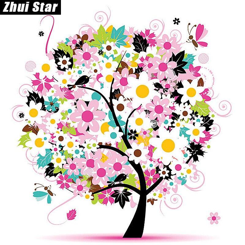 "Full Square Diamond 5D DIY Diamond Painting ""flower trees"" Embroidery Cross  Stitch Rhinestone Mosaic ... c9242f0453de"