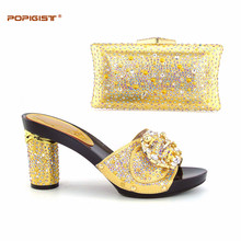 Gold bridal design Women Shoes Matching with Elegant smart bags summer  parties Shoe and bag matching set high quality e0bb48b40702
