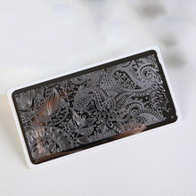 Nail Stamping Plate Rectangle Full Cover Curved Flower Series Stainless 1pcs Art Image Plates Stencil For Nails