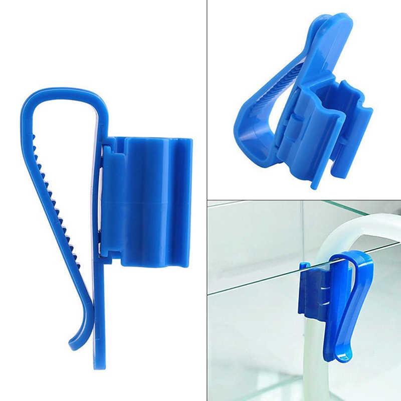 2 pçs aquarium azul tubo de água mangueira suporte de montagem para 8-16mm tubo de filtragem de tubulação suporte de água clipe fixo braçadeira de mangueira de tanque de peixes