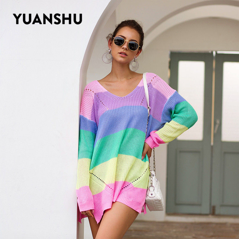 YUANSHU 2019 Autumn Women Sweaters V Neck Rainbow Striped Long Sleeve Winter Knitting Pullovers One Shoulder Sexy Woman Sweater