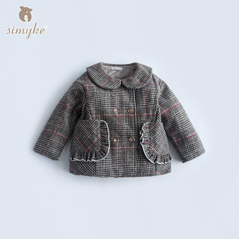 Simyke Girls Plaid Wool & Blends Coat 2018 New Children's Warm Jacket For Girl Kids Winter Outwear Child Brand Clothes W5052 2015 new girls design jacket luxury brand child outwear flower printed coat