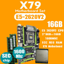 PLEXHD X79 Turbo placa base LGA2011 ATX combos E5 2620 V2 CPU 2 piezas x 8 GB = 16 GB DDR3 RAM 1600 Mhz PC3 12800R PCI-E NVME M.2 SSD(China)