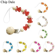 Rabbit Pacifier Clip Chains Wooden Clips Baby Teething Toys Wood Bead Dummy Holder Soother for Chew