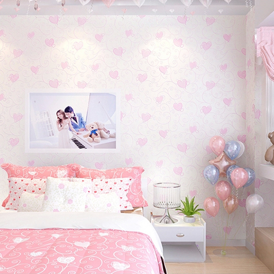 aesthetic bedroom korean simple princess sweet heart non woven children wallpapers