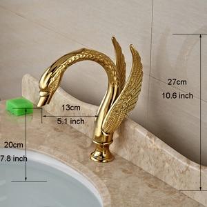 Image 5 - صنبور لحوض غسيل ذهبي بمقبض مزدوج على شكل بجعة ، صنبور خلاط لحوض الحمام مع الماء الساخن والبارد
