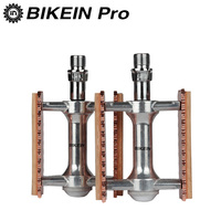 BIKEIN Vintage Style 9/16 Road/Mountain Bike Pedals Aluminum Alloy + Wood Cycling MTB BMX Anti skid Pedals Bicycle Parts 394g