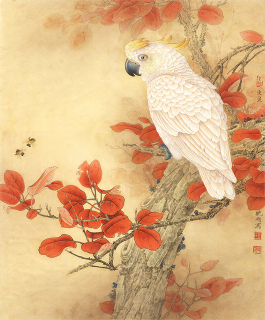 Online Shop Chinese red leaves white parrot scenery oil painting ...