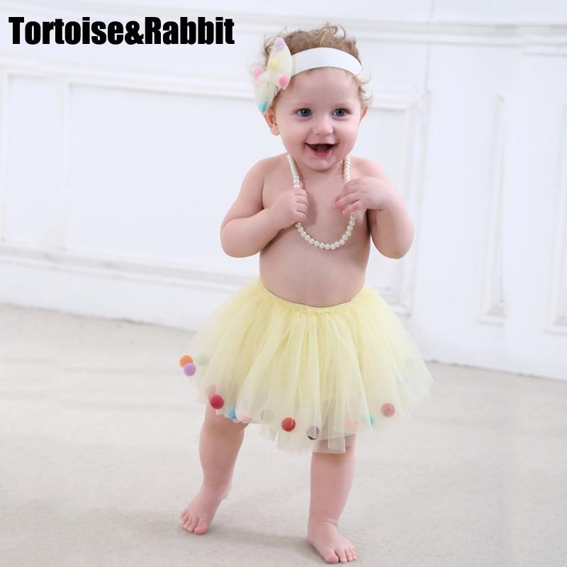 2Pcs Summer Baby Girls Tutu Skirts+Headbands Newborn Pettiskirt Girl Princess Skirt Tulle Petticoat Colorful Layered Miniskirt