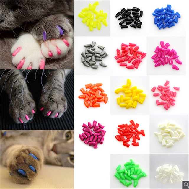 20pcs Nail Sets Colorful Soft Paw Pet Dog Cat Kitten Paw Claw Control Resin Nail Caps Cover Glue Free Shipping DK039