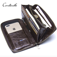Genuine Leather Men Clutch Wallet Brand Male Card Holder Long Zipper Around Travel Purse With Passport Holder 6.5 Phone Case