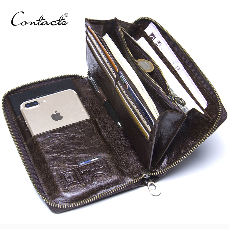 Genuine Leather Men Clutch Wallet  Brand Male Card Holder Long  Zipper Around Travel Purse With Passport Holder 6.5
