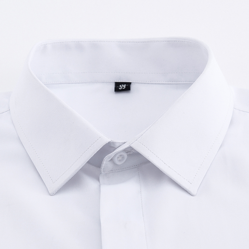 Men's Classic French Cuffs Solid Dress Shirt Covered Placket Formal Business Standard-fit Long Sleeve Shirts (Cufflink Included) 2