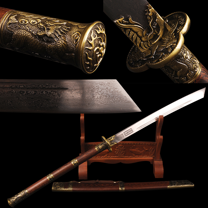 Chinese Kangxi Sabre Sword Folded Steel Blade Rosewood Saya Sword 45cm Handle Knife Home Decoration Imperial Bodyguard Cosplay