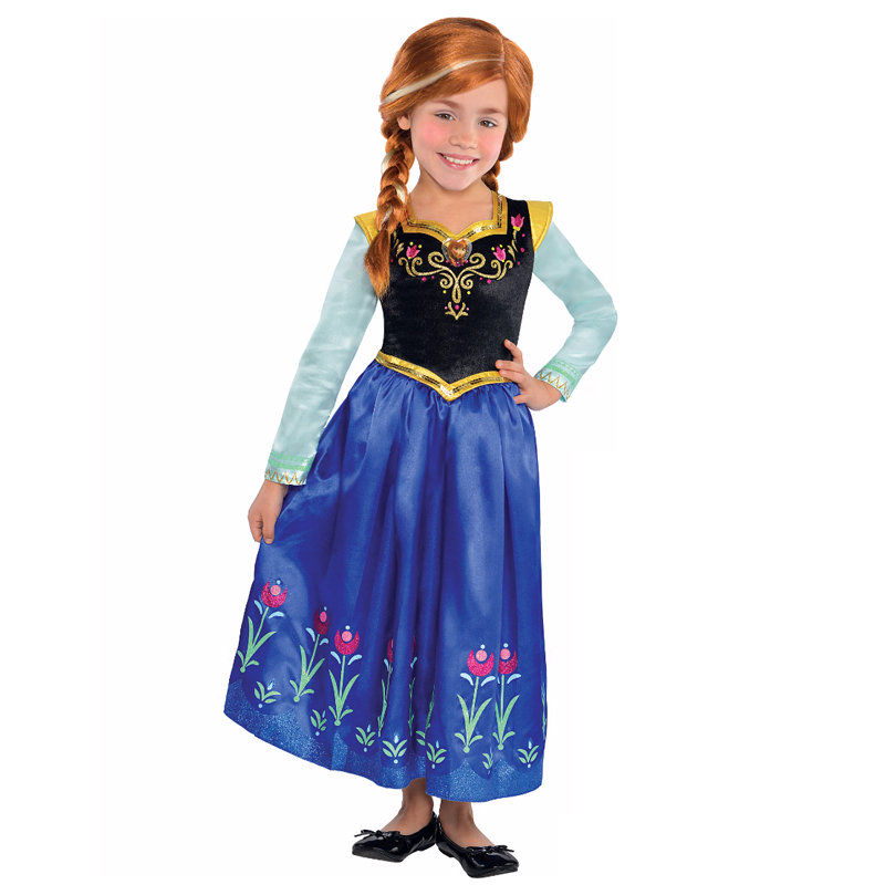 af1762150 Hot selling Deluxe Girls Princess Anna Costume Kids Halloween Fancy ...