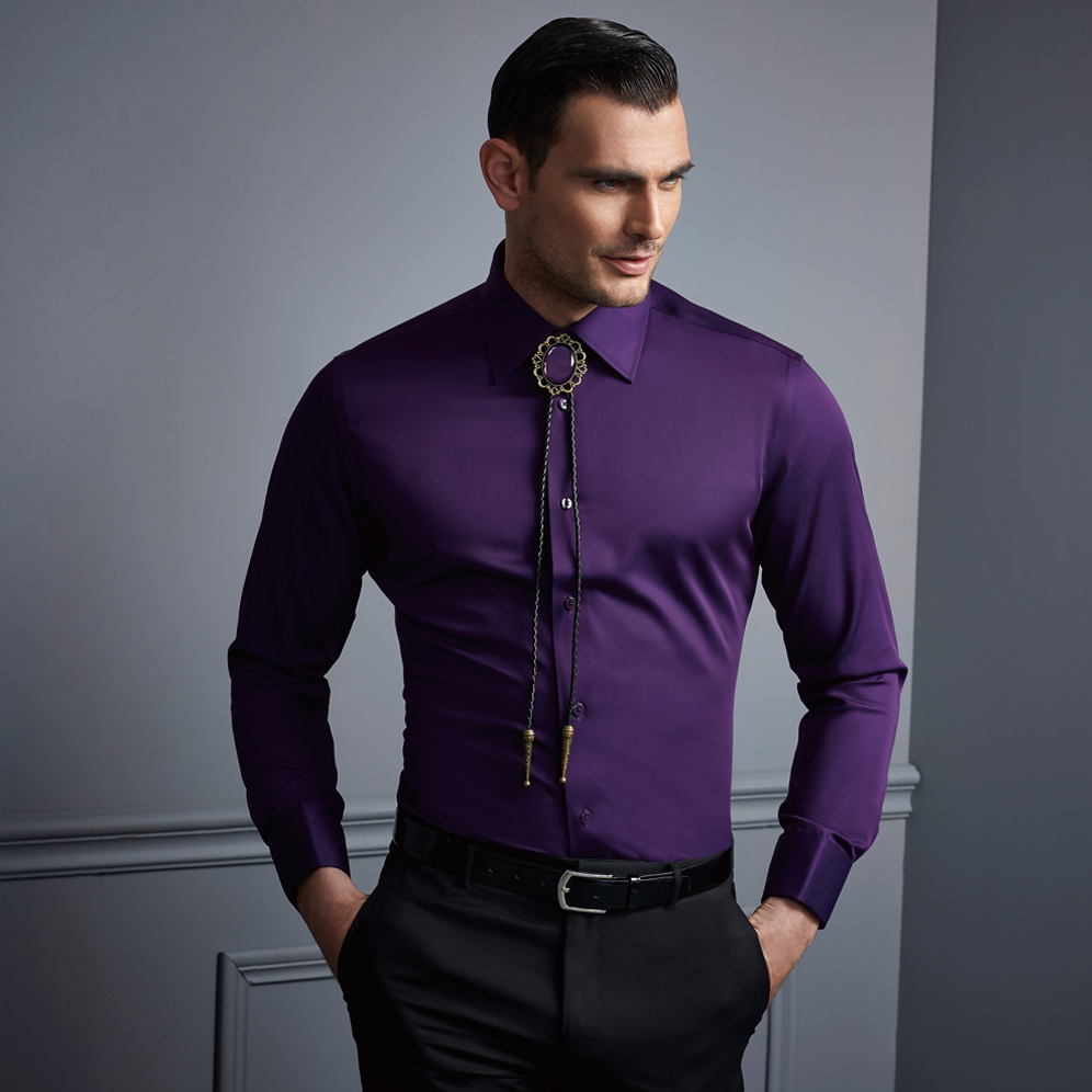 High fashion mens dress shirts french cuff work shirts Light purple dress shirt men