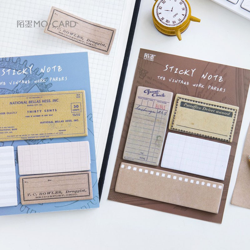 1 Pack Vintage Postage Book Style Tear Memo Pad Sticky Notes School Office Supply Student Stationery