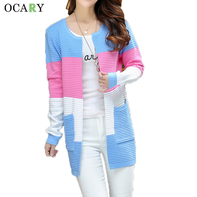 Senhoras verão Tops moda Striped Cardigan Oversize mulheres camisola longa com bolso 2016 Crochets Femme Plus Size Maglioni Donna
