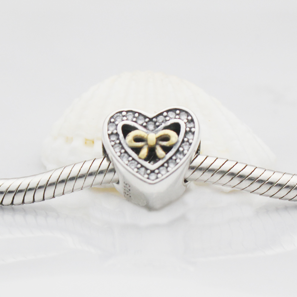 2017 Fits Original Pandora Charms Bracelet 925 Sterling Silver Bound By Love Charm with CZ Heart Bow Charm Bead Jewelry Making